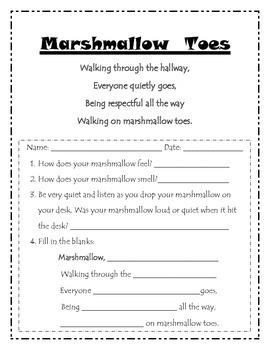 Hallway Behavior Expectations Marshmallow Toes