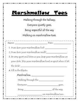 Hallway Behavior Expectations Marshmallow Toes