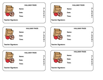Hallway Pass by KAlbert | Teachers Pay Teachers