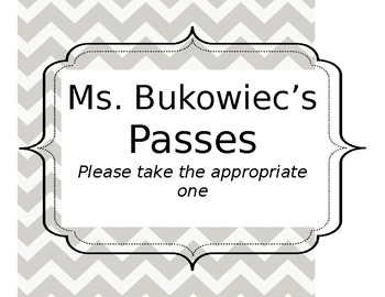 Hallway Pass Sign - Chevron (Editable)