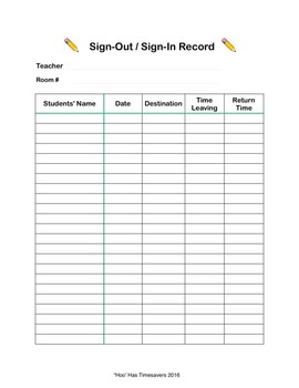 Hallway Passes and Sign-out Sheet