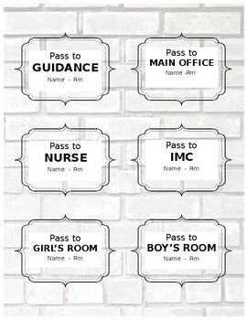 Hallway Passes (Editable)