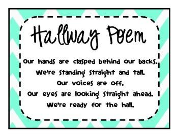 Hallway Poem in Turquoise and Black Chevron
