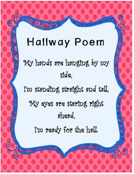 Hallway Poem with red and blue colors
