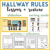 Hallway Rules Slideshow, Sort, Activities, Worksheets, Posters for K-2 PBIS