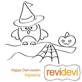 Line art Hally owl-oween (digital stamp, coloring image) S028, halloween owl