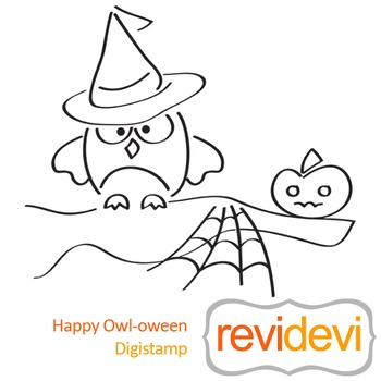 Line art Hally owl-oween (digital stamp, coloring image) S