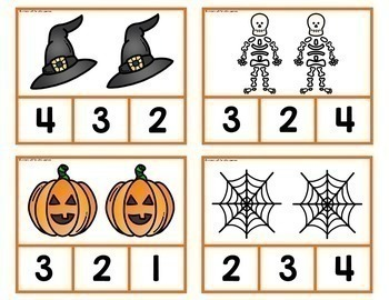 Halloween Count and Clip Cards 1-10