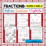 Halves, Quarters and Eighths Worksheets