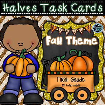 Halves Task Cards - Fall Theme
