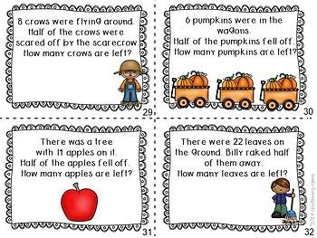 Fall Math Center - Fraction Task Cards Fall Theme - Halves