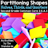 Halves, Thirds, Fourths: Partition Shapes  2.G.A.3 Common Core Math 2nd Grade