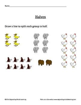 Halves Worksheet - Animal Theme