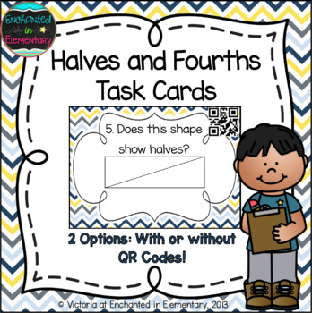 Halves and Fourths Task Cards: 1st Grade CC: Reason with shapes and attributes