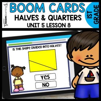 Halves and Quarters BOOM CARDS   DIGITAL TASK CARDS   Module 5 Lesson 8