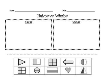 Halves vs Wholes Sort