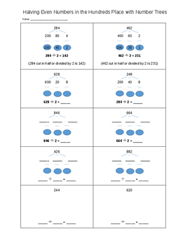 Halving Even Numbers to the Hundreds Place - Mental Math Prep - EDITABLE