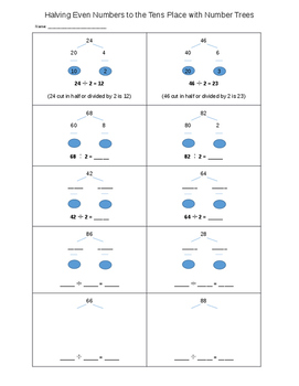 Halving Even Numbers to the Tens Place - Mental Math Prep - EDITABLE