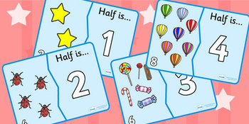 Halving Matching Jigsaw Cards