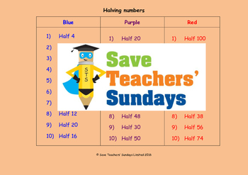 Halving lesson plans, worksheets and more
