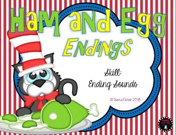 Ham and Egg Ending Sounds Preschool Kindergarten Literacy Center