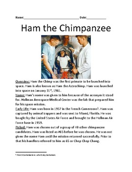 Ham the Chimpanzee - first primate in space - lesson facts info questions