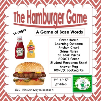 Hamburger Game:  identify the base word