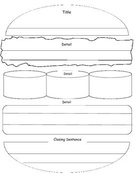 Hamburger Graphic Organizer (title, detail, closing)