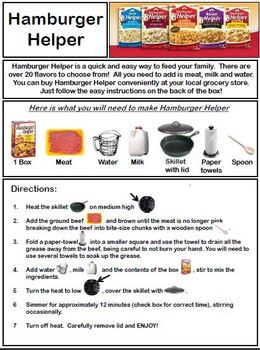 Hamburger Helper Recipe With Visuals By Empowered By Them Tpt
