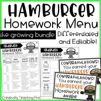 Hamburger Homework Menu THE GROWING BUNDLE- editable