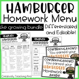 Hamburger Homework Menu THE GROWING BUNDLE- editable