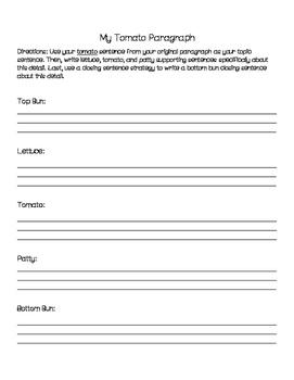 Hamburger Paragraph and Essay Writing - Organizer