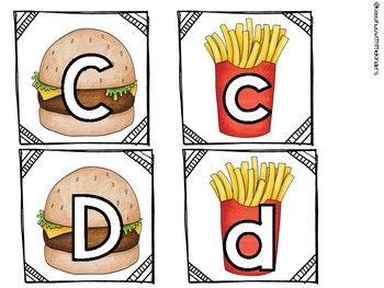 Hamburger and French Fries Upper and Lower Case Matching A-Z