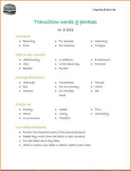 Hamburger model mini-lessons - Transition words & sentences in writing