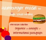 Hamburger model mini-lessons - Organize body paragraphs in papers / essays