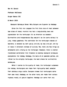 Hamburger vs. Hotdog Persuasive Argumentative Writing Exam