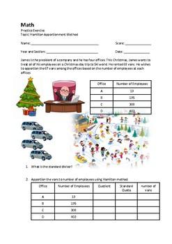 Hamilton Apportionment Method Christmas Worksheet