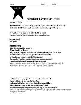 Hamilton--Cabinet Battle 1 Lyric Analysis