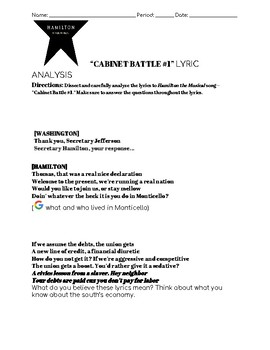Hamilton--Cabinet Battle 1 Lyric Analysis