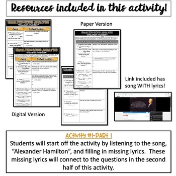 "Hamilton Song Analysis:  ""Alexander Hamilton""- {Digital AND Paper}"