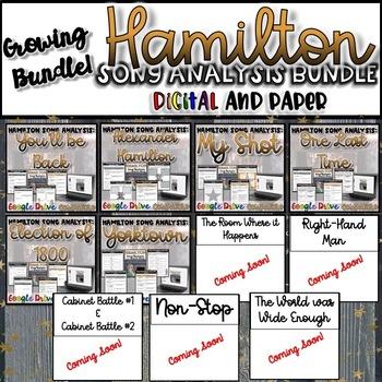 Hamilton Song Analysis GROWING Bundle- {Digital AND Paper}