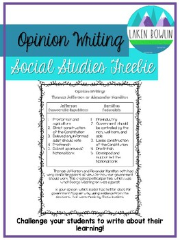 Hamilton Vs. Jefferson Opinion Writing- TN4.46