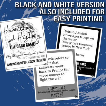 Hamilton and History Card Game American Revolution Edition