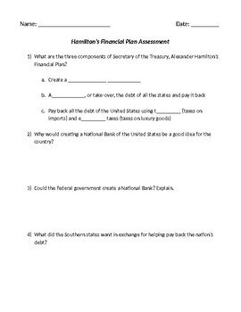 Hamilton's FInancial Plan Assessment Do Now or Exit Ticket