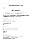 "Hamilton's Financial Plan,""Hamilton the Musical"", Graphic Organizer, & Key"