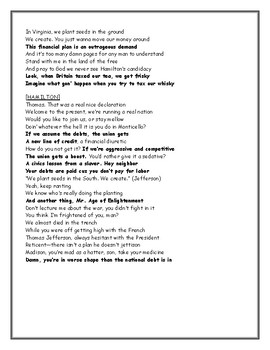 "Hamilton's Financial Plan Worksheet-  using""Hamilton the Musical"" Lyrics"