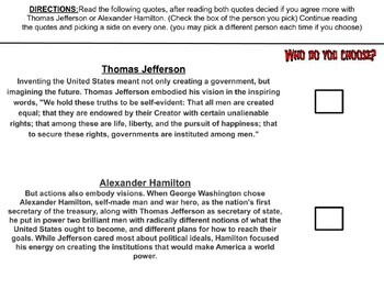 Hamilton vs. Jefferson You Decide Battle