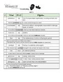 Hamlet Acts 1-5 Vocabulary Packet (with Vocab Worksheet Template)