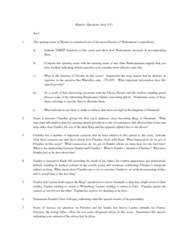 Hamlet 70 Questions