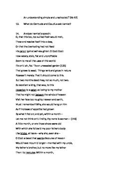 Hamlet Act 1, Scene 2 Guided Reading Questions